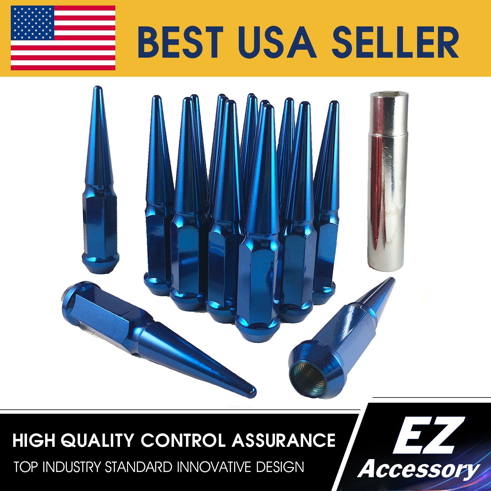 EZAccessory 24 Blue Bulge Acorn Lug Nuts 14x1.5 Thread Size 3//4 Hex