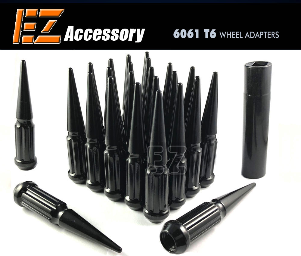 Black 24 PC Twisted Spline Spike Lug Nuts Kit 12x1.5 | with Key