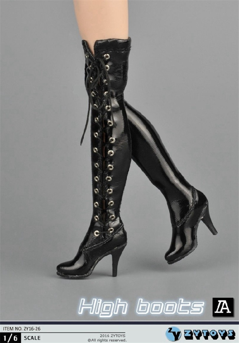"""1//6 Scale Woman/'s Black//White High Boots Shoes For 12/"""" Action Figure Female Body"""
