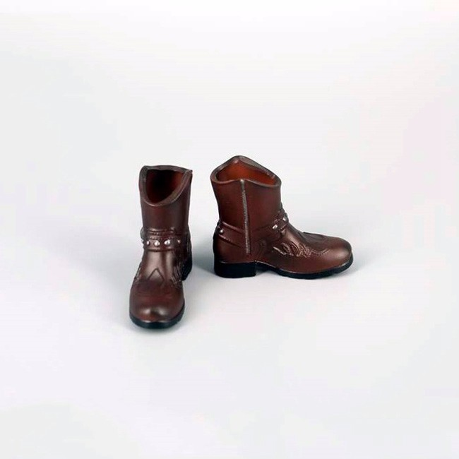 X16-02 1//6 Scale HOT Brown Leather Boots Male Size TOYS hollow