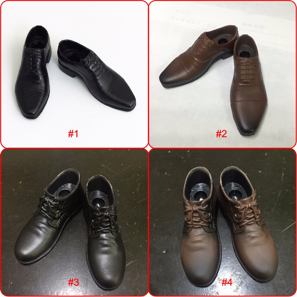 """1//6 Scale Men/'s Black//Brown Leather Shoes Toys For 12/"""" Male Action Figure Body"""