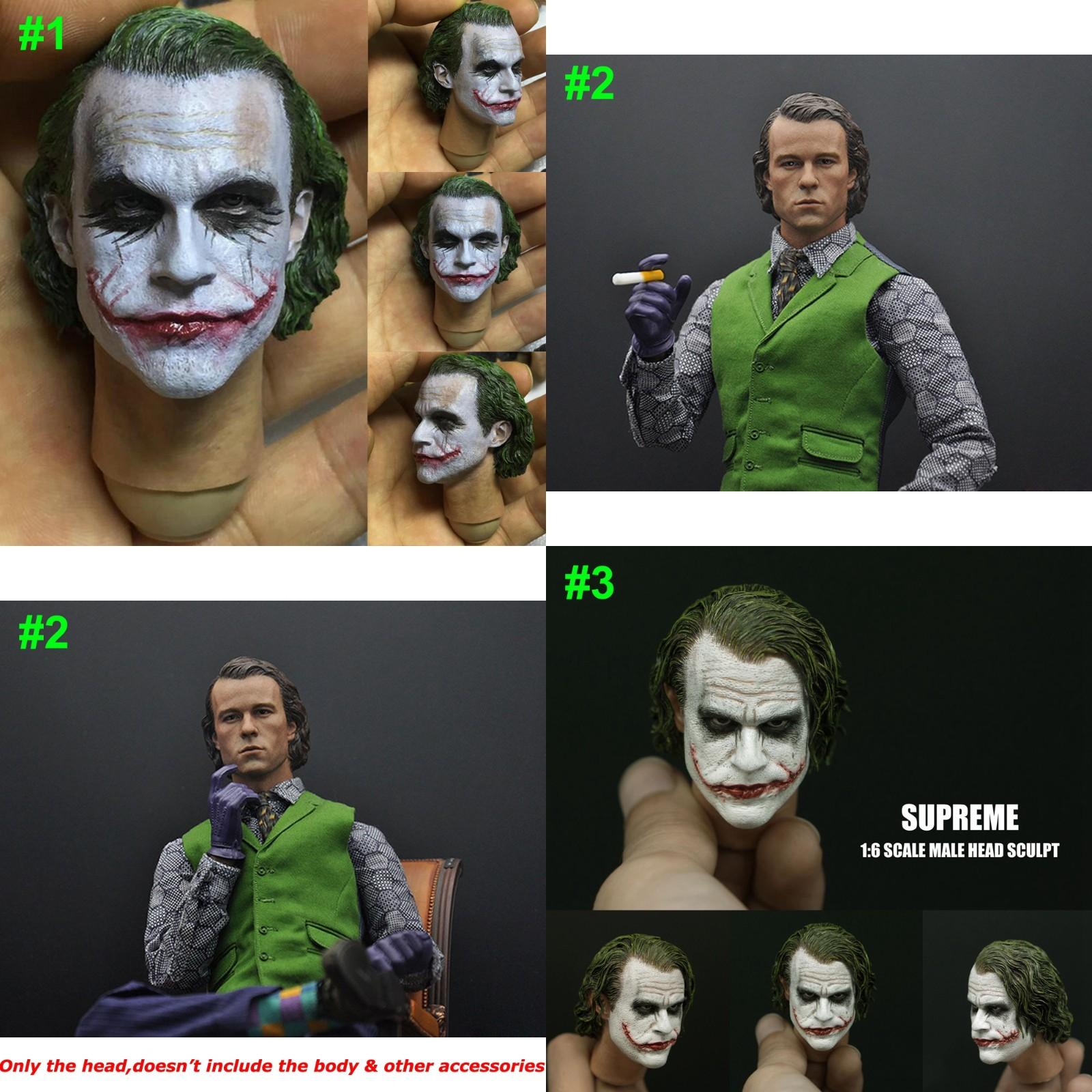 "1//6 Scale Batman Joker Head Sculpt Heath Ledger For 12/"" Action Figures Body"