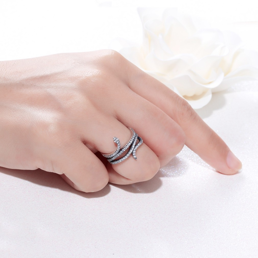 925 Silver Ring Zircon Curled Snake Fashion Design Cool Woman ...