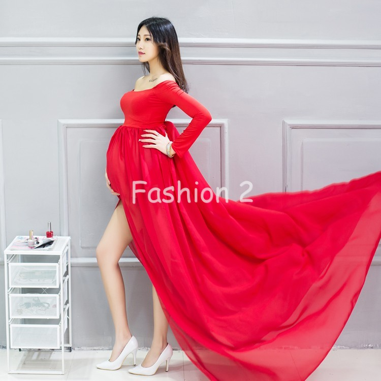 34c77f43350d6 Mixed Chiffon Maternity Photography Props Long Pregnancy Dress ...