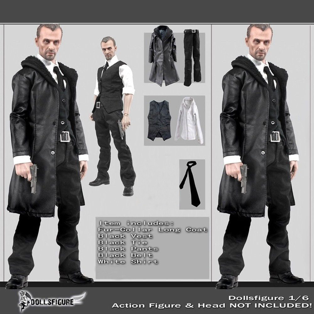 1 6 Scale Male Black Leather Coat Suit Clothing Set For 12 Body Hot