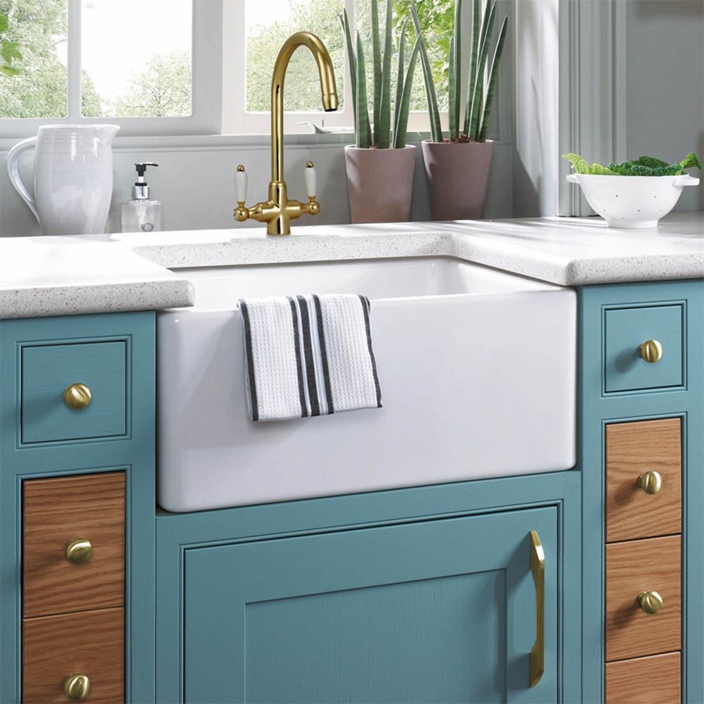 Astini Colonial English Gold & White Ceramic Handle Kitchen Sink ...