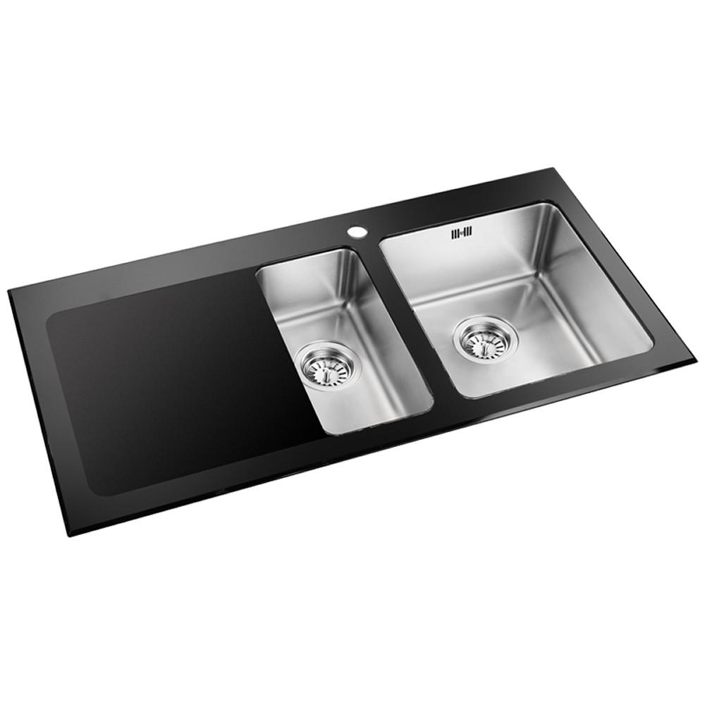 Astini Celso 1.5 Bowl Black Glass Kitchen Sink AS103BLKL | eBay