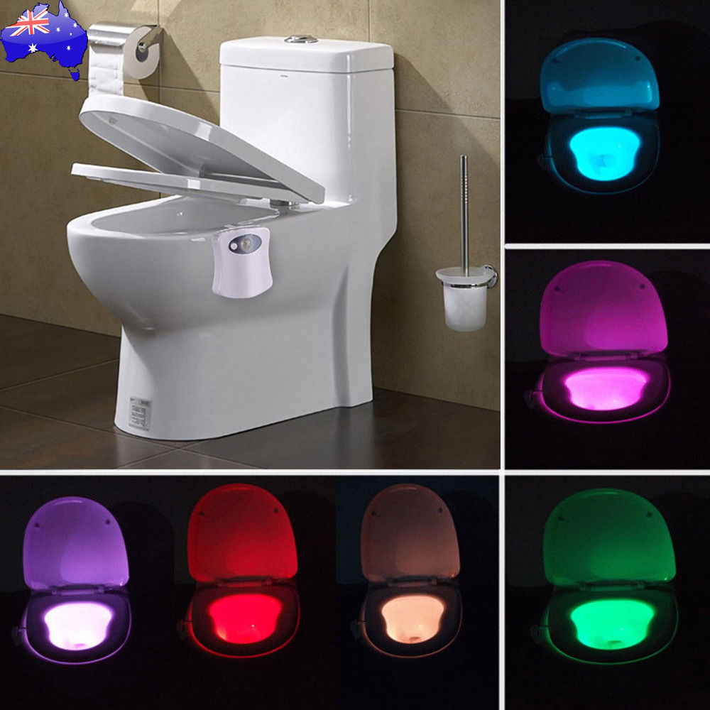 Motion Activated Toilet Night Light Bowl Bathroom Led 8
