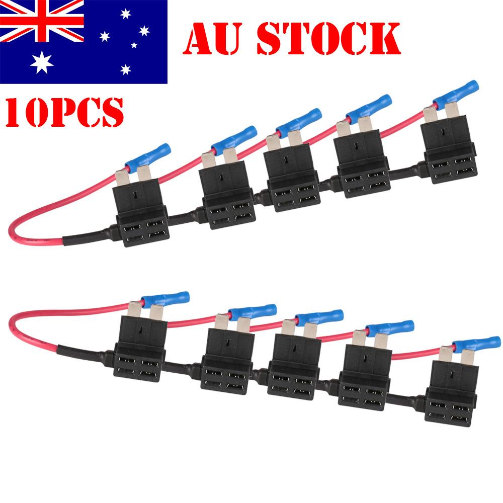 10pcs Add Circuit Acu Piggy Back Tap Standard Blade Fuse Holder 10a A Piggyback Buy Mini Au Stock