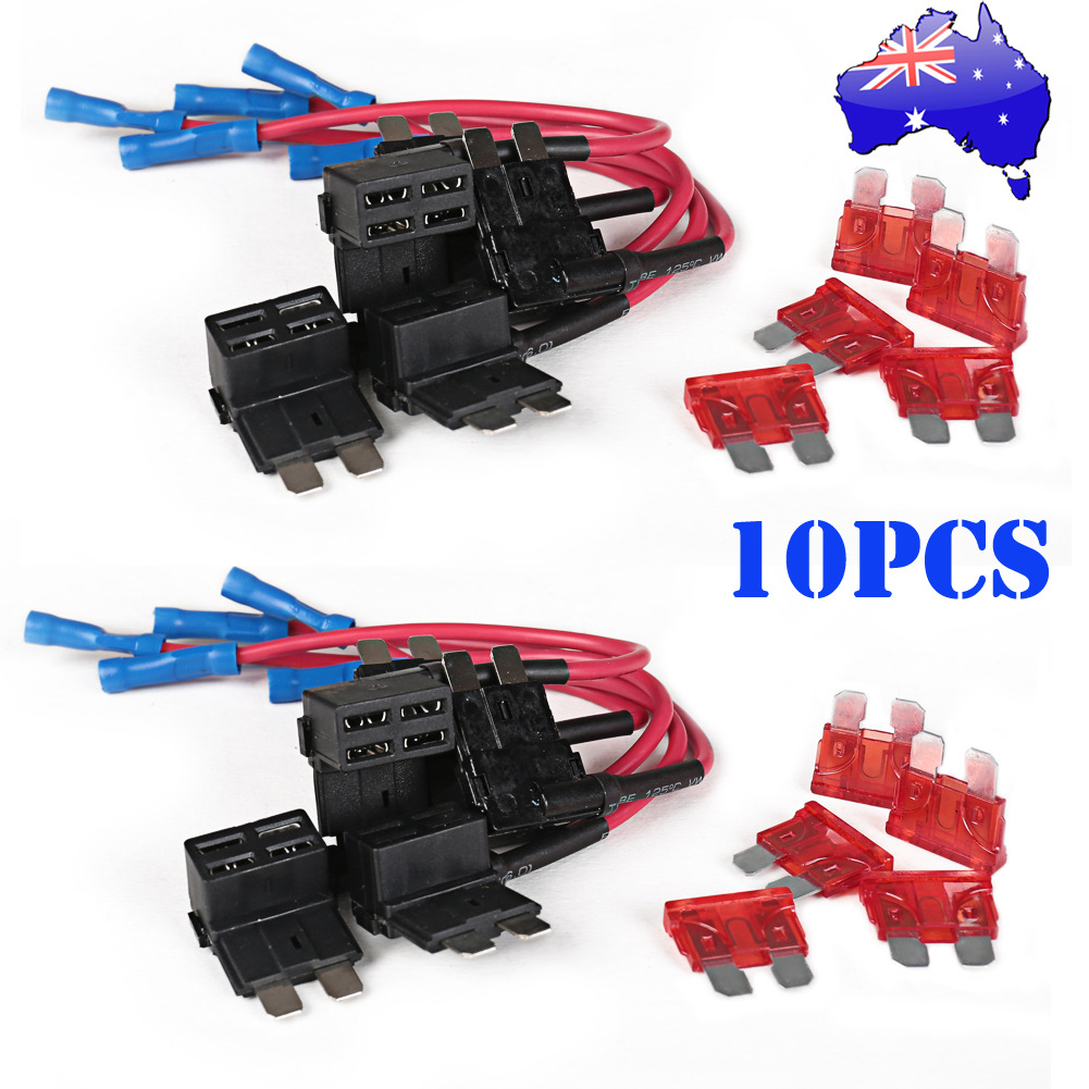 10X Car Add Circuit 10A ACU Piggy Back Tap Standard Blade Fuse Box Holder AU