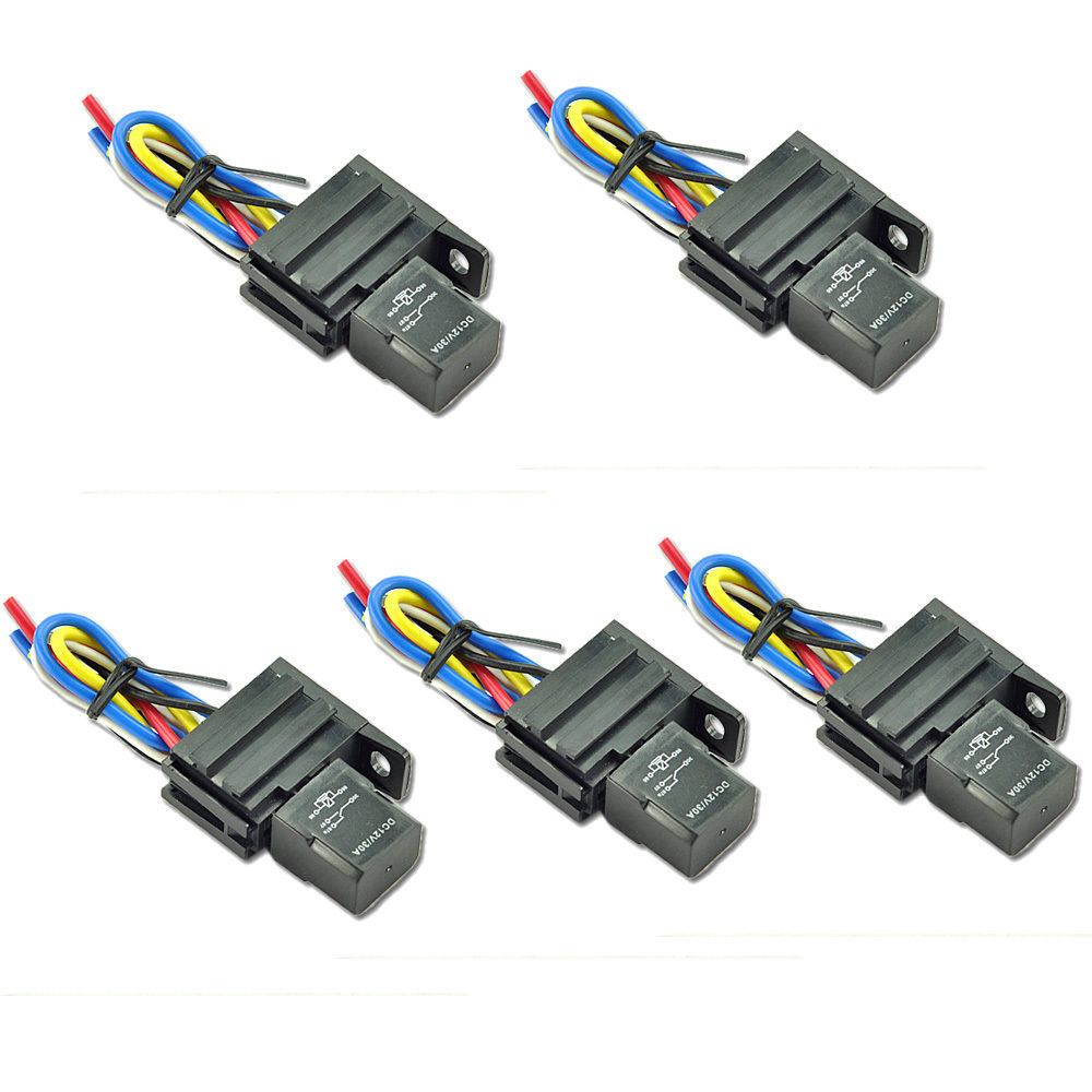 5Pack 12V 30A Relay For Car Electric Fan Fuel Pump Light Kit Horn ...