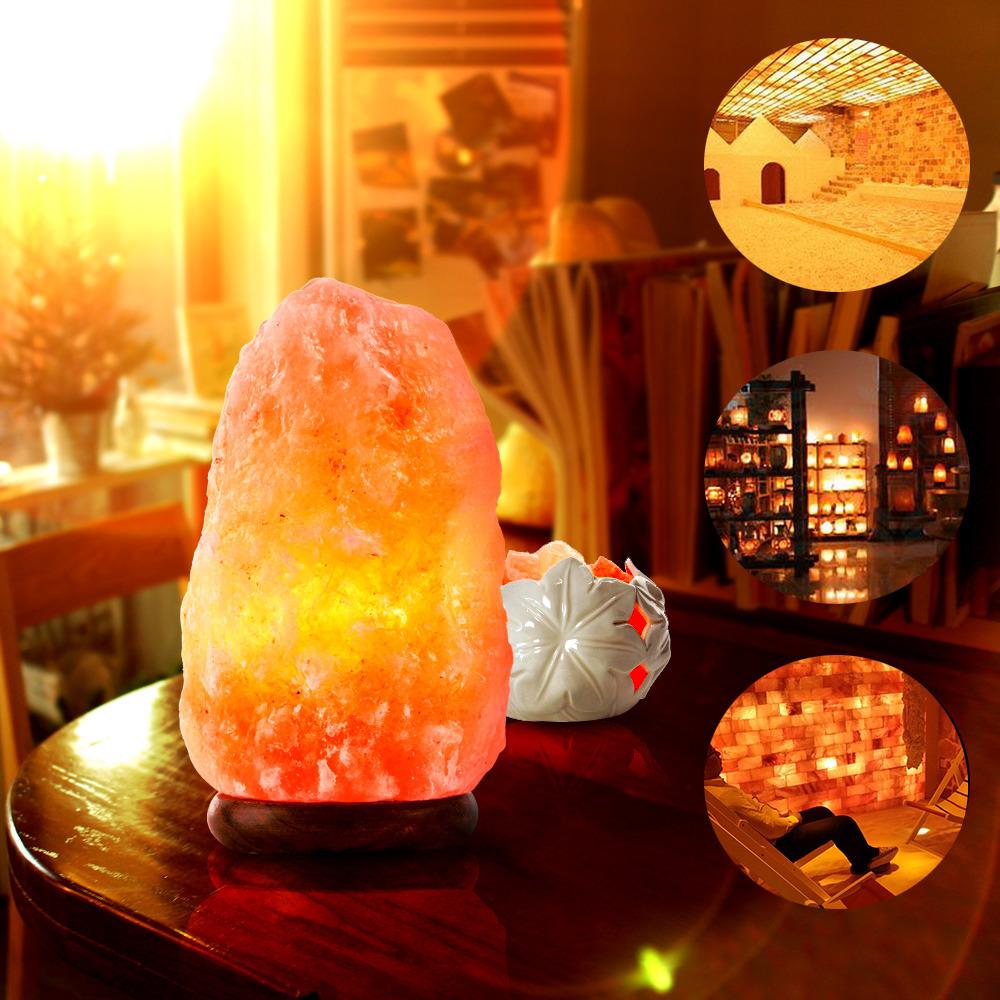 HIMALAYAN SALT LAMP Natural Pure Crystal Rock Dimmer Switch Night ...