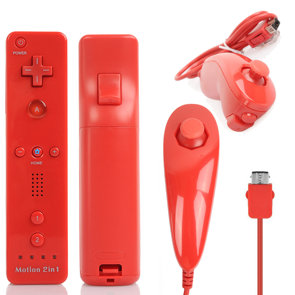 2x Red For Nintendo Wii U Wii Game Controller Motion Plus
