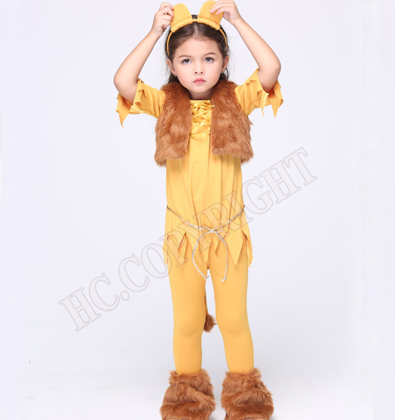 02c5a31db Details about Girls Fancy Lion Cosplay Costume King Of The Jungle Fair Tale  Halloween Dress
