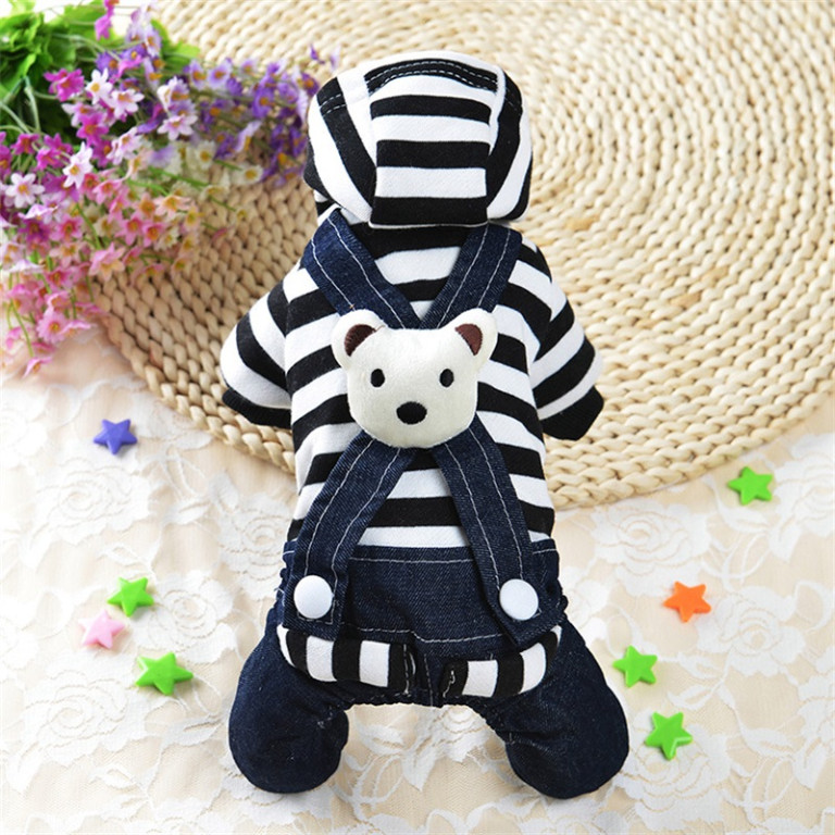 Dog Clothes Small Pet Hoodie Coat Striped Costume Puppy Apparel Jumpsuit K134