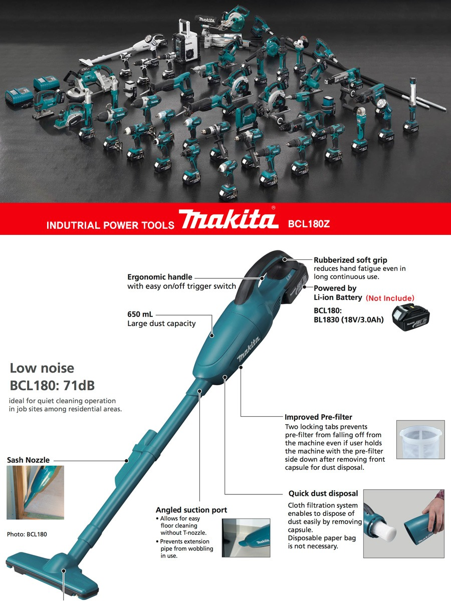Makita Dcl180z Cordless Handy Vacuum Cleaner Rechargeable