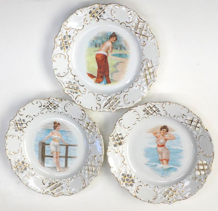 3 Old Reticulated Edge Plates Nude,& Women in 1900\'s Bathing Suits ...