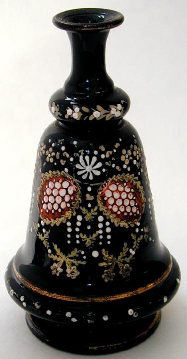 Victorian Black Glass Enameled Moriage Stylized Flower Design Ebay