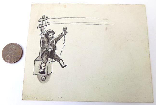 Details about Original Old Pen & Ink Drawing Boy on Telephone Box & Pole on  Small Card