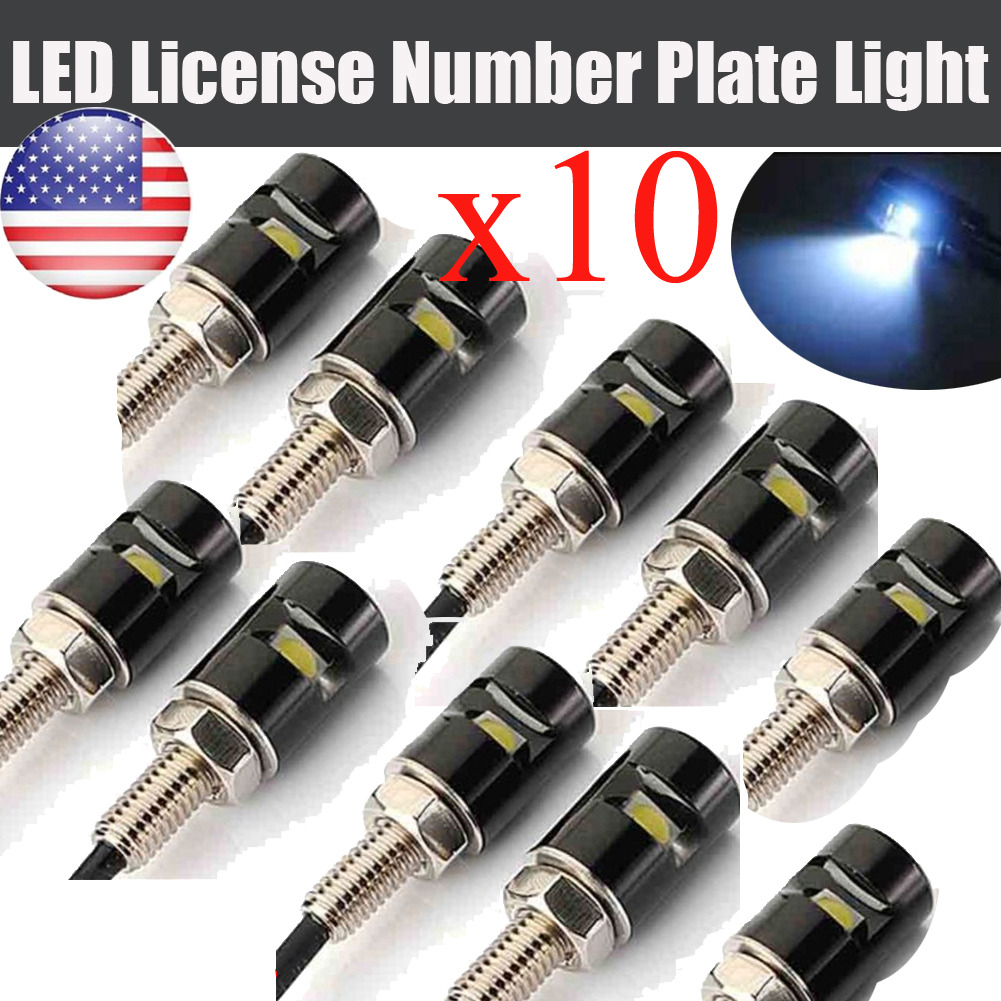 10X Universal Screwt SMD LED White Bolt Lamp Motorcycle Car License Plate Light