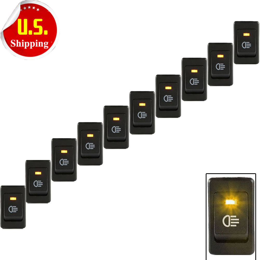 10pcs 12V 35A Car Fog Light Rocker Switch Yellow LED Dash Dashboard 4Pin US  Sale