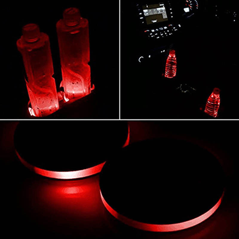 Hard-Working 2pcs Solar Cup Holder Bottom Pad Led Light Cover Trim Atmosphere Lamp For All Car Automobiles & Motorcycles Mounts & Holder