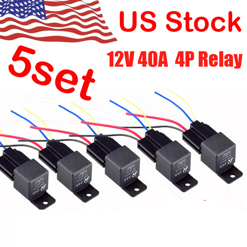 5Pack DC 12V Car SPST Automotive Relay 4 Pin 4 Wires w/Harness ... on 4 pin relay lighting, 4 pin micro relay, 4 pin toggle switch, 4 pin fuel relay, 4 pin relay wire, 4 pin switch circuit diagram, 4 pin relay with pigtail, 4 pin headers, 4 pin to 5 pin harness, 4 pin relay operation, 4 pin horn relay, 4 pin relay sockets, 4 pin relay harness, 4 pin power relay, 4 pin relay terminals, 4 pin relay connector, 4 pin relay testing,