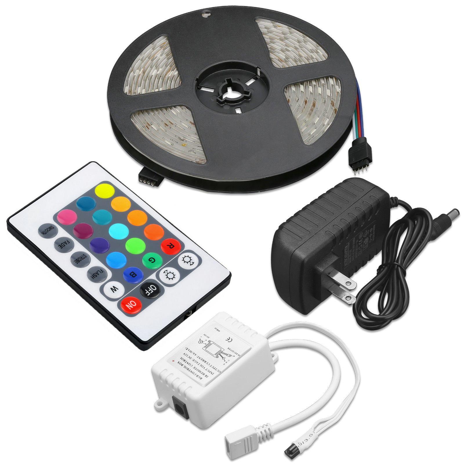 5M 5050 RGB Impermeable Tira de Luz LED SMD 44 clave remoto 12V US Power Kit Com
