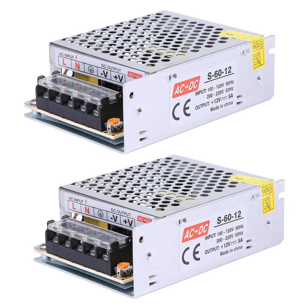 Details about 2 AC 110V 220V to DC 12V 5A 60W Volt Transformer Switch Power  Supply Converter