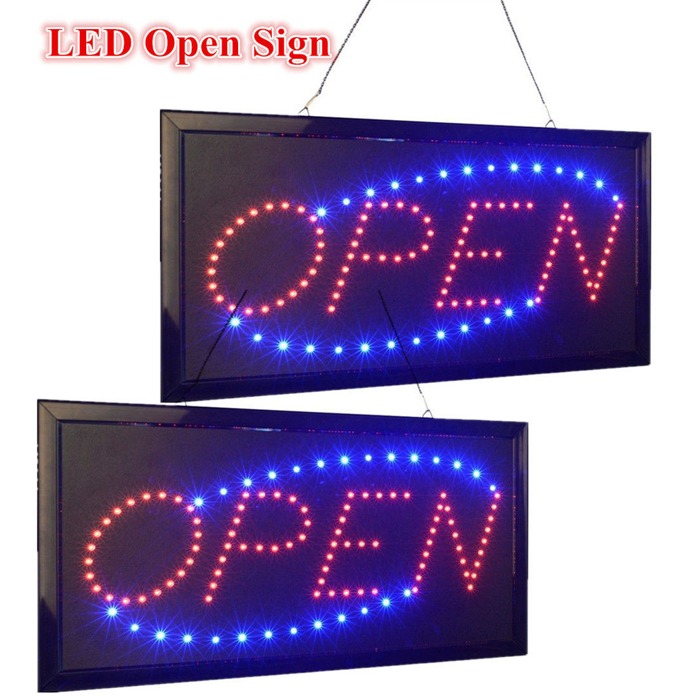 2pcs open sign bright animated motion neon led business store shop signs switch
