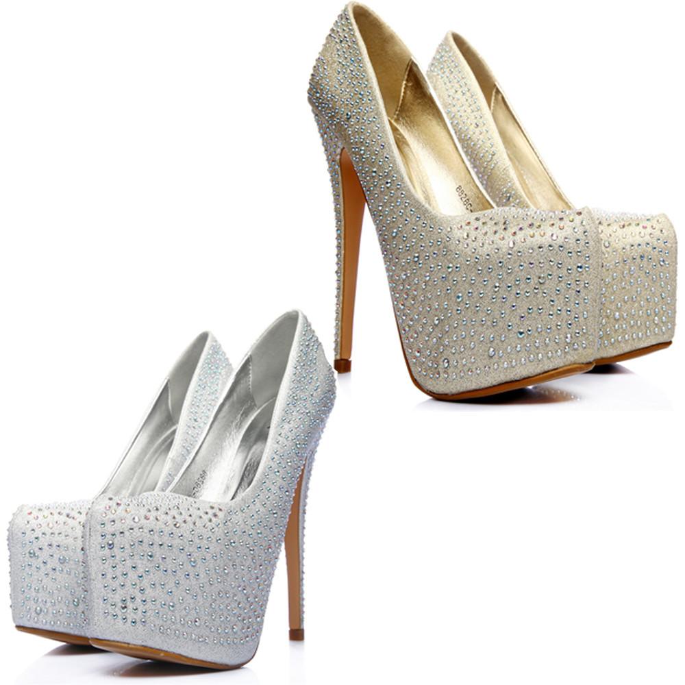 7d8b5c6a8dd Fashion Womens Bridal Prom Party Platform Crystal Rhinestone High Heels  Shoes