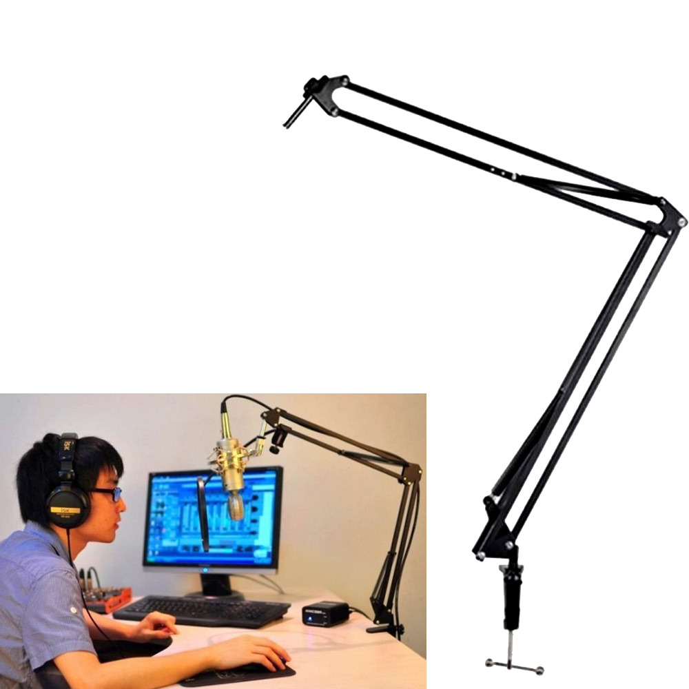 Mic Microphone Suspension Boom Scissor Arm Stand Holder For Studio - Desk boom mic stand