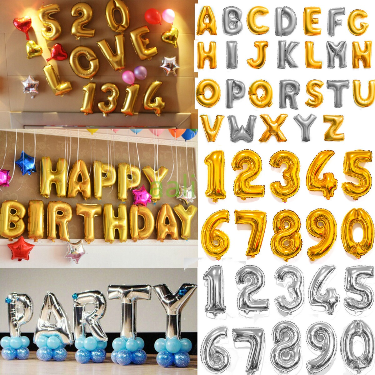 16 40 In Silver Foil Letter Number Balloons Birthday Party Wedding