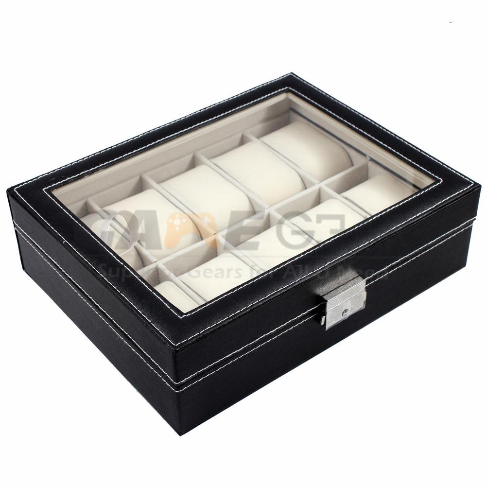 10 Slot Watch Box Leather Display Case Organizer Top Glass Jewelry Storage Black 8