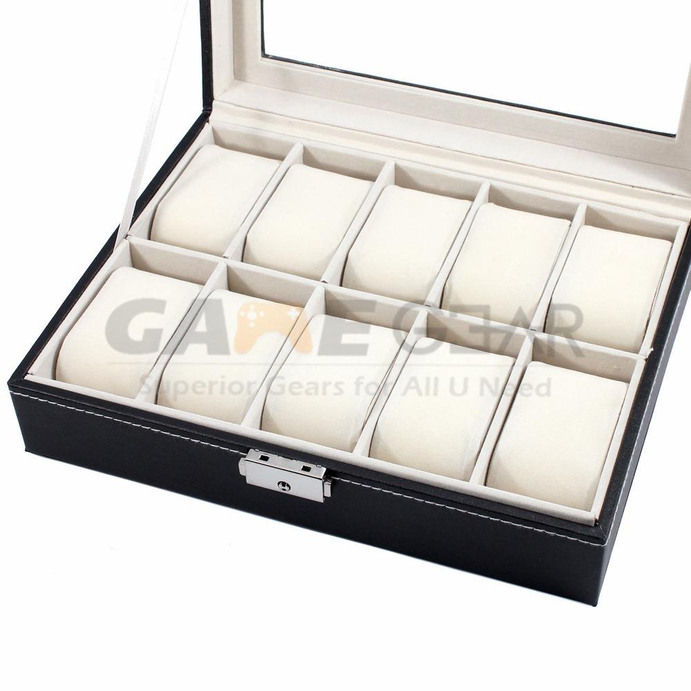 10 Slot Watch Box Leather Display Case Organizer Top Glass Jewelry Storage Black 9