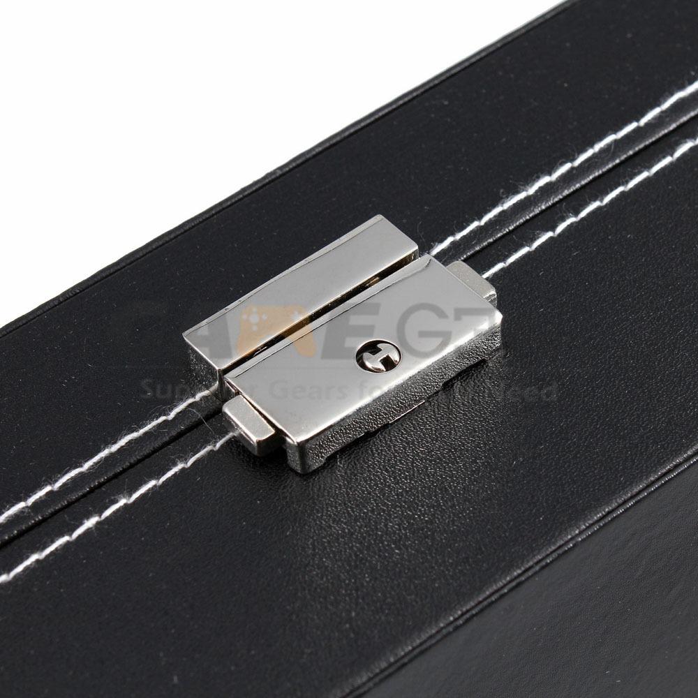 10 Slot Watch Box Leather Display Case Organizer Top Glass Jewelry Storage Black 10