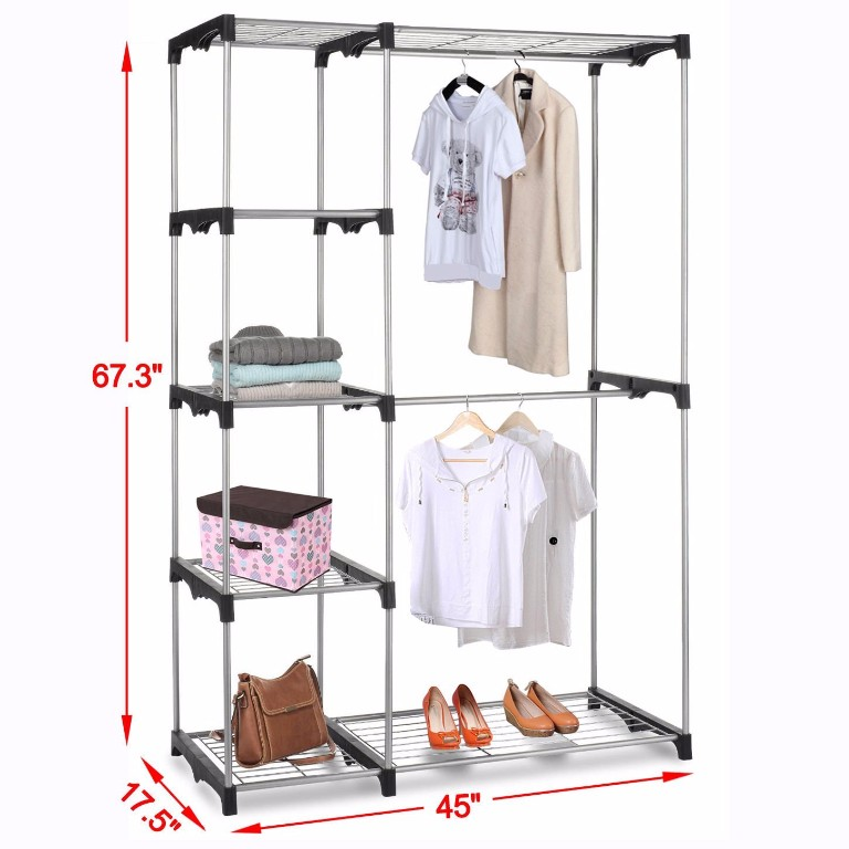 Silver Portable Closet Organizer Storage Clothes Hanger