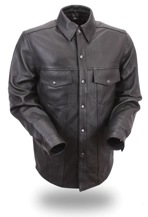 Mens Black Lambskin Leather Motorcycle Biker Shirt Snap