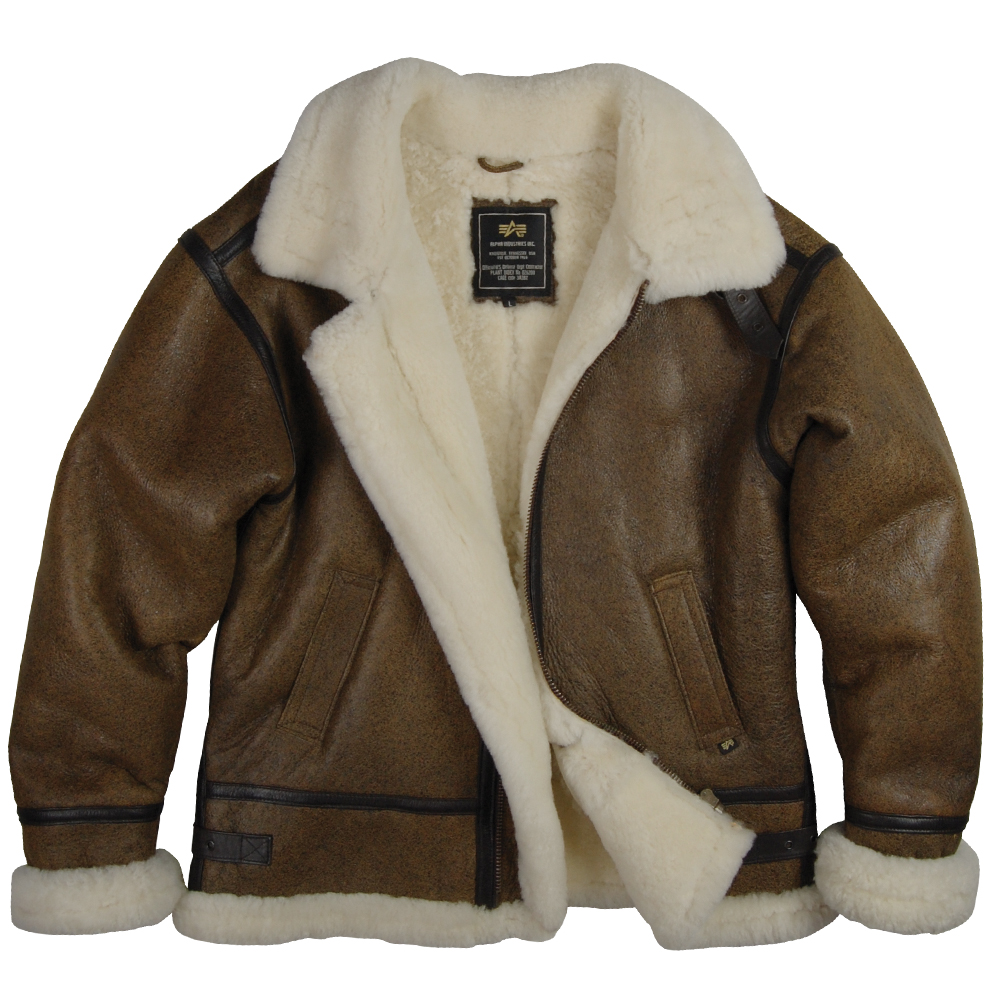 e2617ab89ed Alpha Industries B 3 Sherpa Air Force Leather Sheepskin Bomber Jacket Brown