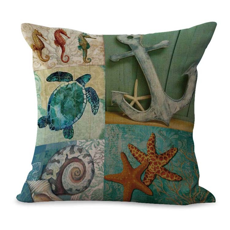 Details About Us Seller Beach Sea Life Turtle Anchor Cushion Cover Home Decor Accessories