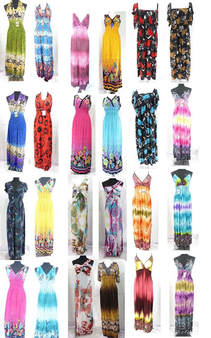 100 long dresses wholesale maxi dress women summer beach casual-US ...