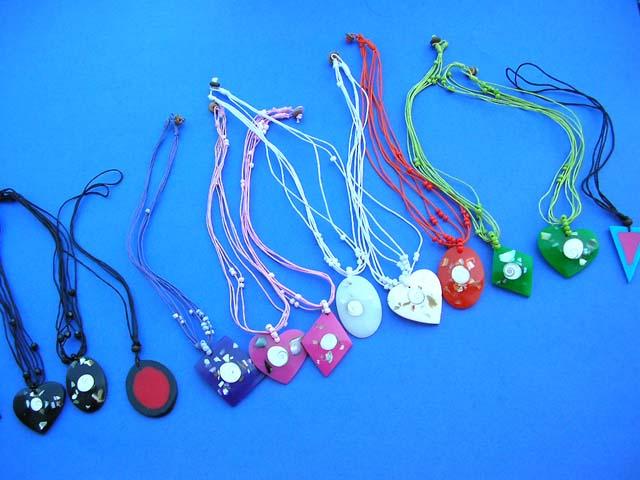 wholesale Bali jewelry 15 pcs seashell resin pendant necklaces handmade
