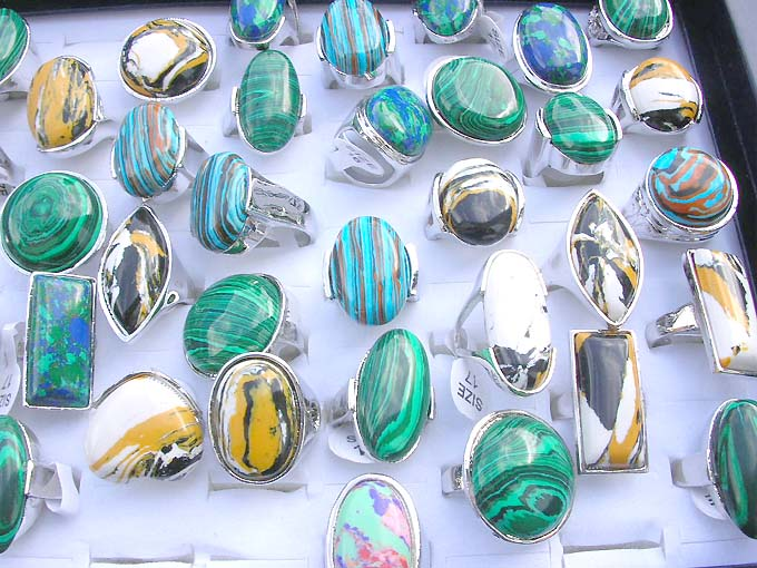 50 pcs Wholesale rings lot Turquoise gemstone silver plated rings wholesale lot,wholesale lots jewelry,bulk rings sale Bulk Rings