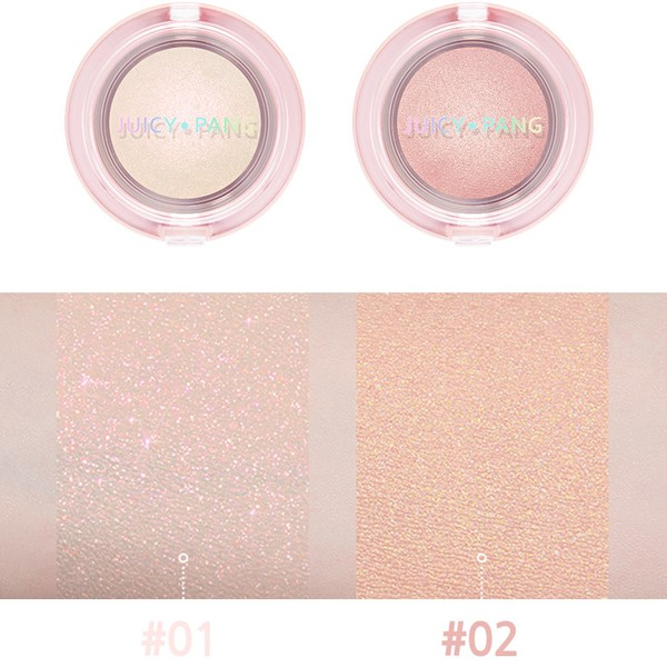 #01 Beam: Pink glitters in a cream white base color #02 Glossy: Gold and opal pearl powder in a baby pink base color