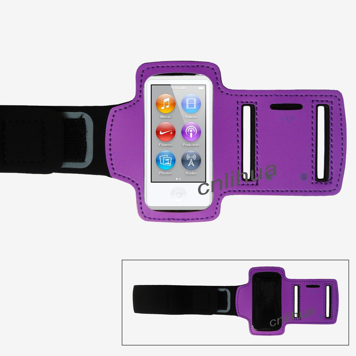 purple sports armband workout running holder case for ipod. Black Bedroom Furniture Sets. Home Design Ideas