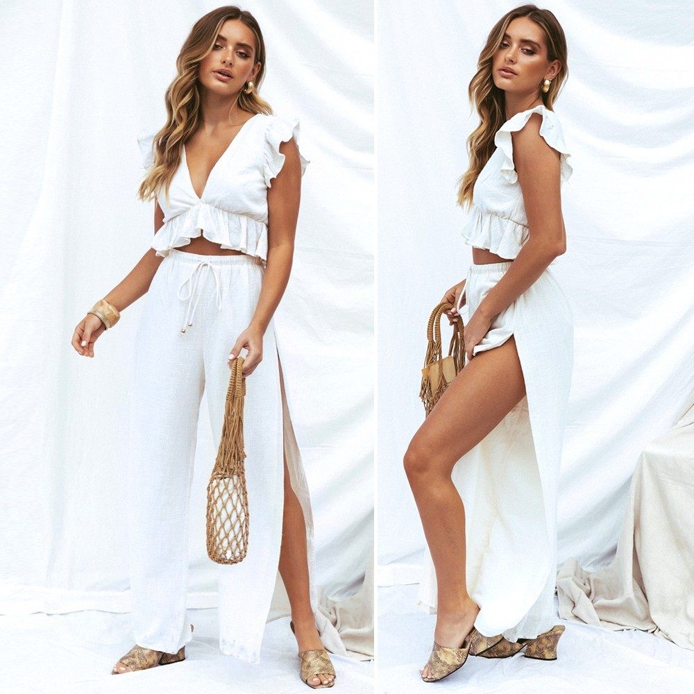 fefd395f99 Womens Ruffle Sexy 2 Piece Outfits Jumpsuit Crop Top and Wide Leg ...