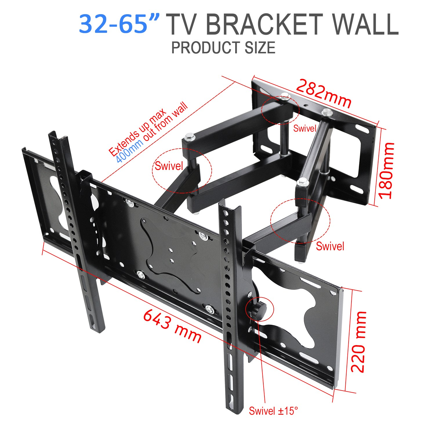 Cantilever Tv Wall Mount Bracket With Swivel And Tilt For Most 32  # Meuble Tv Angle Spaceo