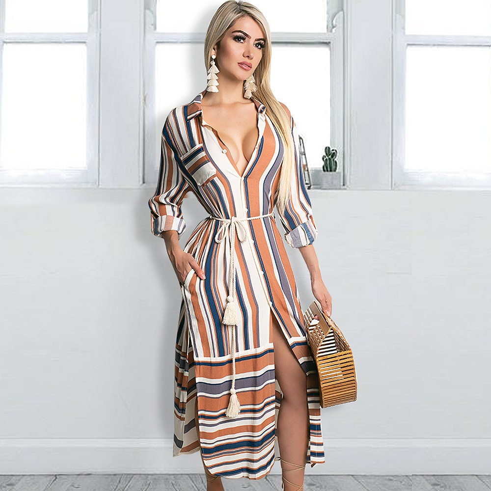 93e9dafb7e61 Details about Women Button Down Shirt Dresses Stripe Printed Long Sleeve  Split Cover up
