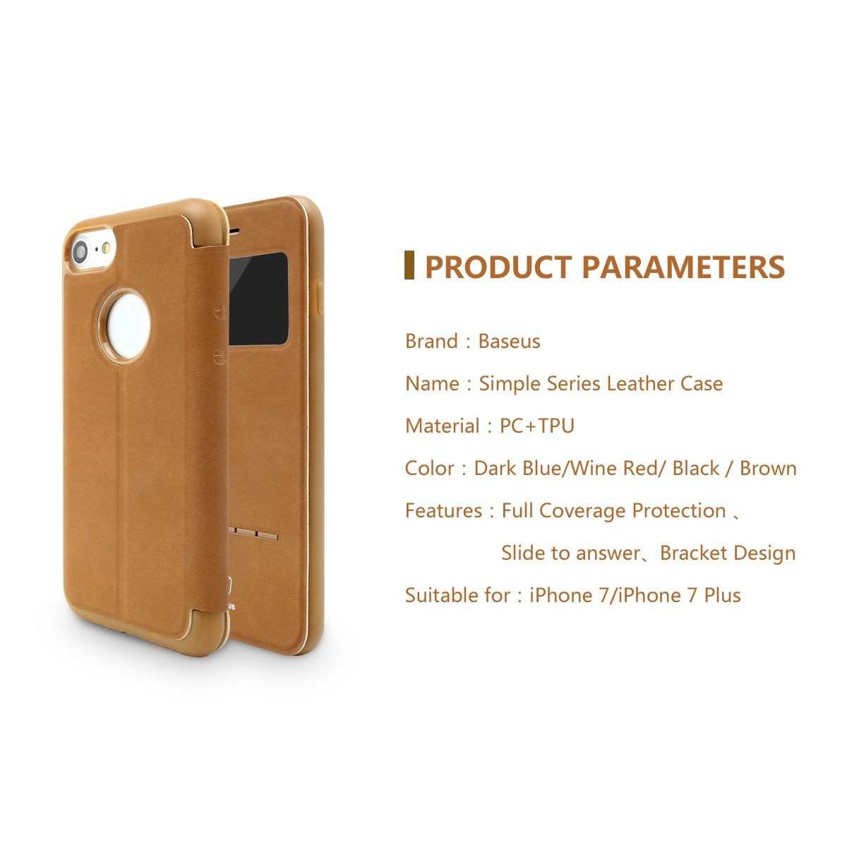 Baseus Terse Touch Faux Leather Case Flip Cover For Apple Iphone 7 Samsung Galaxy Note 5 Window View Plus Brown 55 Inch