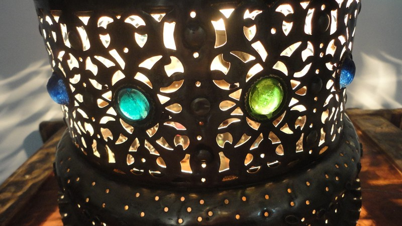 Vintage Handcrafted Moroccan Jeweled Brass Floor Or Table Lamp Lighting Ebay